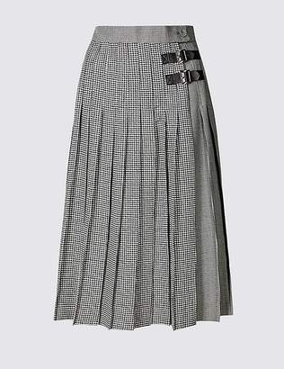 Marks and Spencer Checked Pleated Midi Skirt