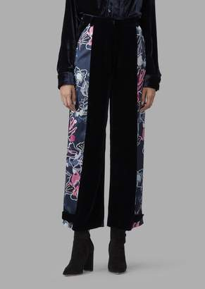 Giorgio Armani Velvet Trousers With Floral Patterned Side Bands