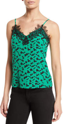 Tanya Taylor Gia Printed Cami with Lace Trim
