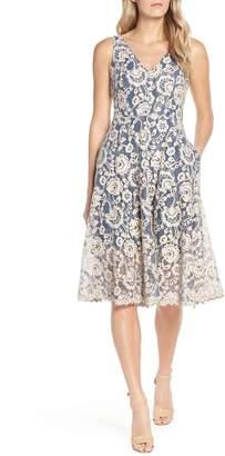Vince Camuto Lace V-Neck Fit & Flare Dress