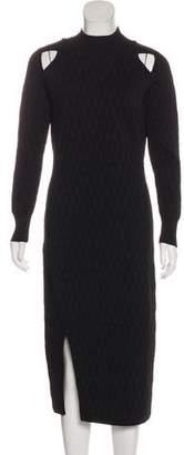 Jonathan Simkhai Patterned Long Sleeve Cutout Midi Dress