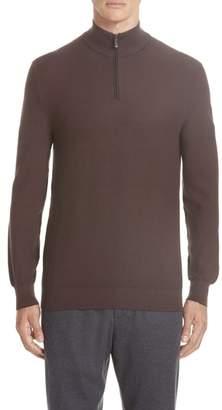Ermenegildo Zegna Quarter Zip Cotton & Silk Pullover