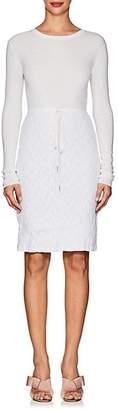 Nina Ricci WOMEN'S LACE-SKIRT LONG-SLEEVE WOOL DRESS - WHITE SIZE S