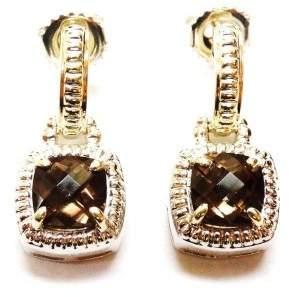 Charles Krypell .925 Sterling Silver & 14K Yellow Gold Smokey Quartz Earrings