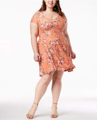 Planet Gold Trendy Plus Size Floral-Print Fit & Flair Dress