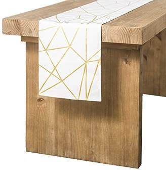 Ling's moment 12 x 108 inches White and Gold Geometric-Inspired Table Runner for Morden & Stylish Wedding Party Holiday Table Setting Decor
