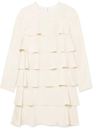 Valentino Tiered Ruffled Silk Crepe De Chine Mini Dress - Cream