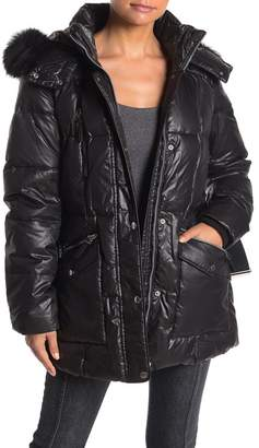 Andrew Marc Susan Quilted Genuine Coyote Fur Belted Jacket