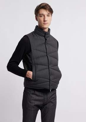 Emporio Armani Sleeveless Fabric Jacket With Diagonal Quilting