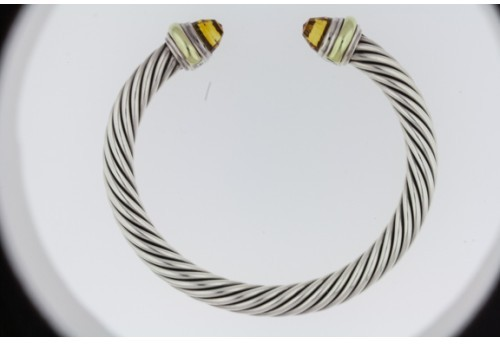 David Yurman excellent (EX Cable Classics Bracelet in Sterling Silver and Citrine