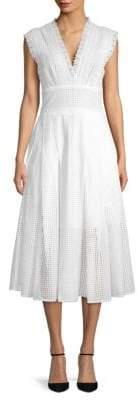 Oscar de la Renta Lace-Trimmed Eyelet Midi Dress