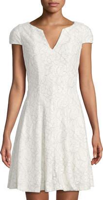 Julia Jordan V-Neck Cap-Sleeve Corded Lace Dress