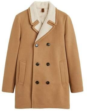 Mango Man MANGO MAN Faux shearling-lined lapel coat