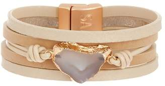 Saachi Morning Agate Stone Pendant Multi-Strand Bracelet