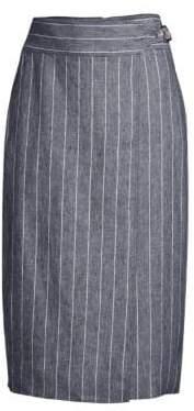 Max Mara Women's Palco Pinstripe Wrap Skirt - Ultramarine - Size 6