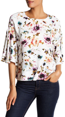 Adrienne Vittadini Floral Bell Sleeve Blouse $78 thestylecure.com