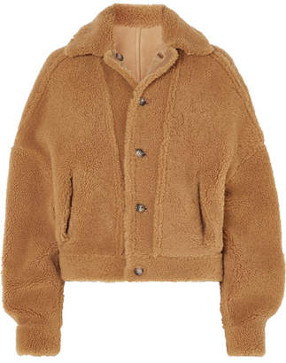 ARJÉ - Reversible Leather-trimmed Suede And Shearling Jacket - Taupe