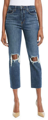 L'Agence Audrina Worn Destructed-Knee Crop Straight-Leg Jeans