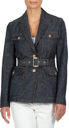 Eleventy Denim Jacquard Belted Jacket