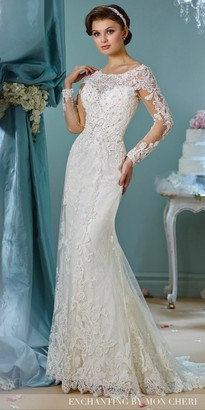 Mon Cheri Enchanting Long Sleeve Embroidered Wedding Dress $998 thestylecure.com
