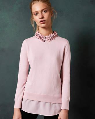 Ted Baker NANSEA Floral collar mockable jumper