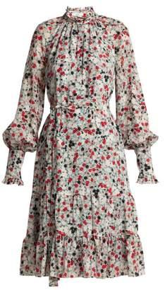 Erdem Eugenie Daisy Print Silk Dress - Womens - Blue Print