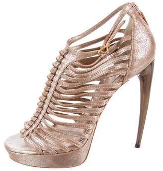 Alexander McQueen Metallic Caged Sandals