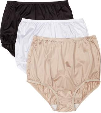 Vanity Fair Women's Perfectly Yours Ravissant Premium Tailored Nylon Brief, Wdb Multi, 8 (Pack of 3)