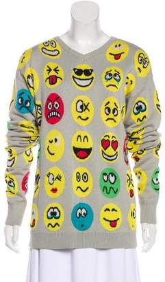 Jeremy Scott Printed Rib Knit Sweater
