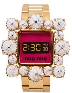 Miu Miu Crystal Embellished Watch Bracelet - Womens - Gold
