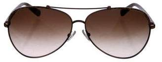 Tory Burch Embossed Leather Aviator Sunglasses