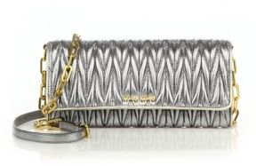 Miu Miu Miu Miu Metallic Matelasse Leather Chain Wallet