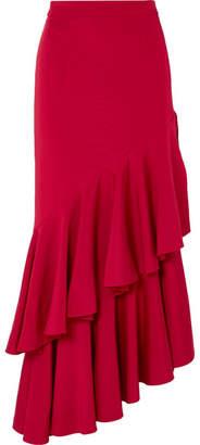 Hellessy Poppy Asymmetric Ruffled Crepe Maxi Skirt - Red