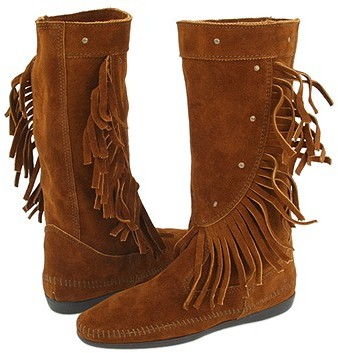 Minnetonka - Calf Hi Fringe Boot (Brown Suede)