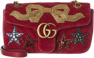 Gucci Gg Marmont Small Embroidered Velvet Shoulder Bag