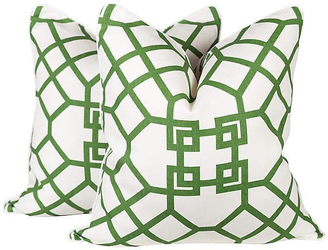 Emerald Lattice Imperial Pillows
