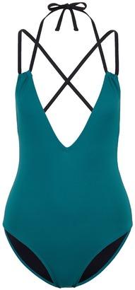 'Alexandra' cross back halterneck one-piece swimsuit