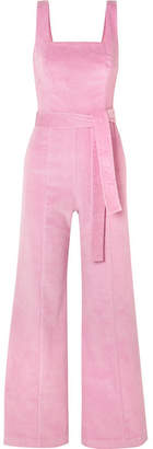 STAUD - Travis Belted Cotton-blend Corduroy Jumpsuit - Baby pink