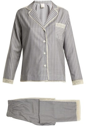 Morpho + Luna - Ines Lace Trimmed Wool Flannel Pyjama Set - Womens - Grey Stripe
