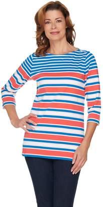 Denim & Co. 3/4 Sleeve Placed Stripe Boat Neck Top