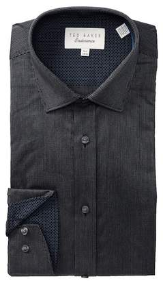 Ted Baker Textured Solid Trim Fit Dress Shirt