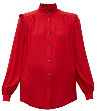 No.21 No. 21 - Ruffle Trimmed Crepe Blouse - Womens - Red