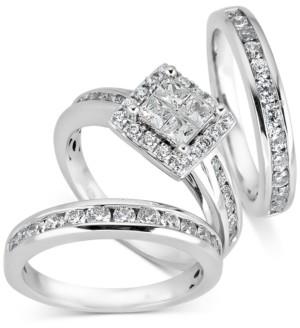 Macy's Diamond Cluster Bridal Set (2 ct. t.w.) in 14k White Gold