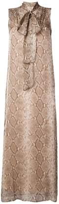 Twin-Set snakeskin print bow tie dress
