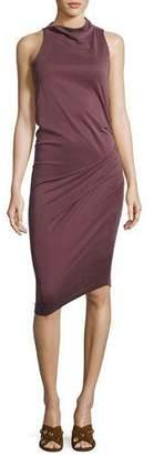 Halston Sleeveless Mock-Neck Draped Jersey Dress, Sugar Plum