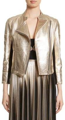 Yigal Azrouel Foiled Metallic Leather Moto Jacket