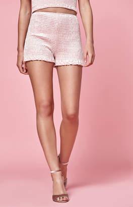 KENDALL + KYLIE Lottie Moss Smocked Velvet Shorts