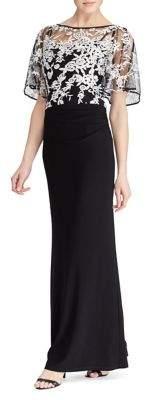 Lauren Ralph Lauren Short-Sleeve Evening Dress