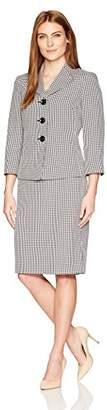 Le Suit Women's Gingham 3 Button Skirt Suit