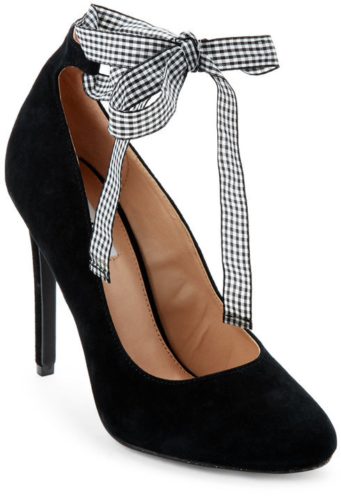 steve madden Black Lilly Ankle Wrap Pumps